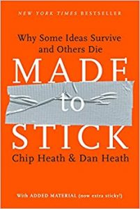 """Pictured here is the cover of the book """"Made to Stick"""""""