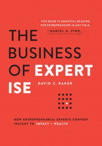"The cover of the marketing strategy book ""The Business of Expertise"" is pictured here."