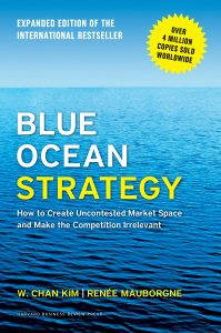 "Pictured here is the cover of the marketing book ""Blue Ocean Strategy"""