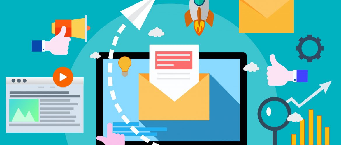 Marketing automation illustration showing a laptop with an email opening, paper plane soaring, rocket launching, and other various doodles.