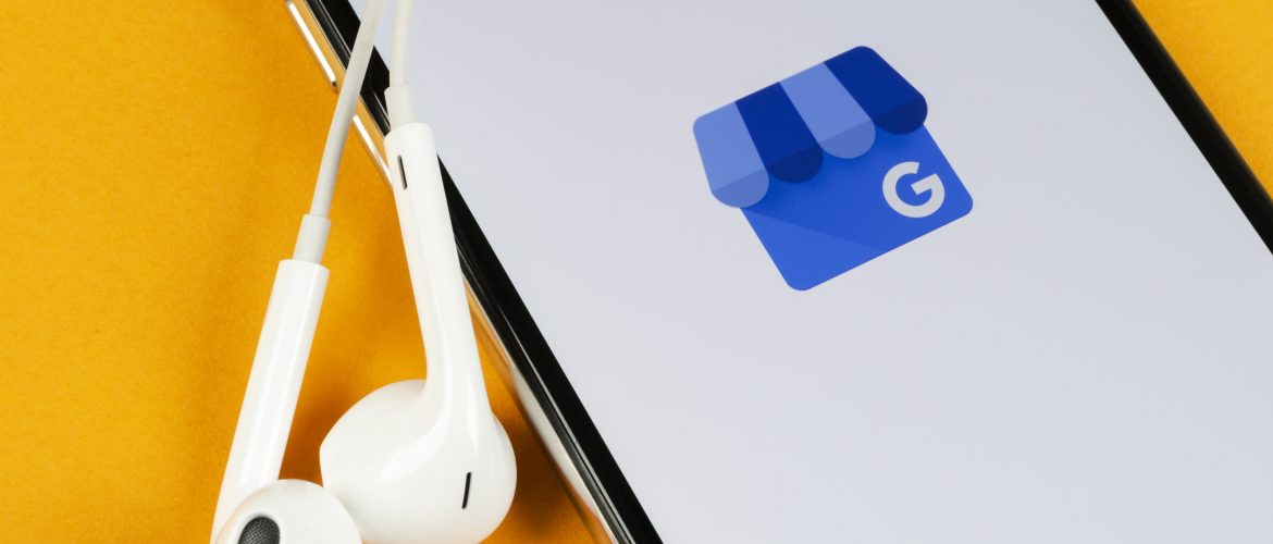 A phone is shown with the google my business app opening up.